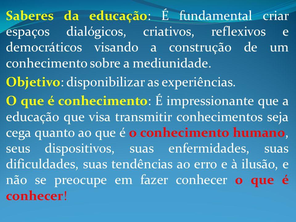 Saberes da educação: É fundamental criar espaços dialógicos, criativos, reflexivos e democráticos visando a construção de um conhecimento sobre a mediunidade.