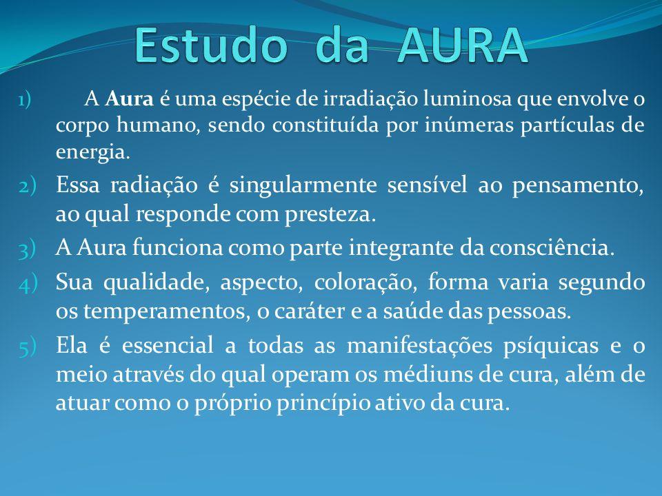 Estudo da AURA A Aura é uma espécie de irradiação luminosa que envolve o corpo humano, sendo constituída por inúmeras partículas de energia.