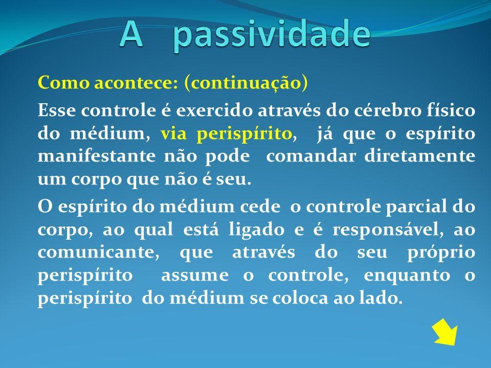 A passividade Como acontece: (continuação)
