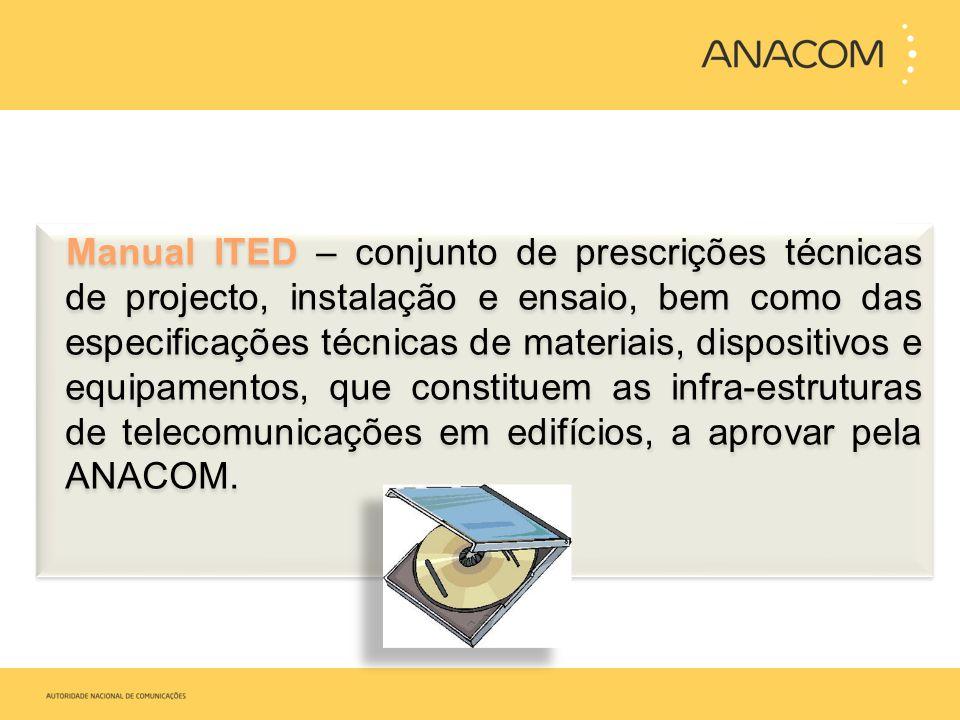 Manual ITED – conjunto de prescrições técnicas de projecto, instalação e ensaio, bem como das especificações técnicas de materiais, dispositivos e equipamentos, que constituem as infra-estruturas de telecomunicações em edifícios, a aprovar pela ANACOM.