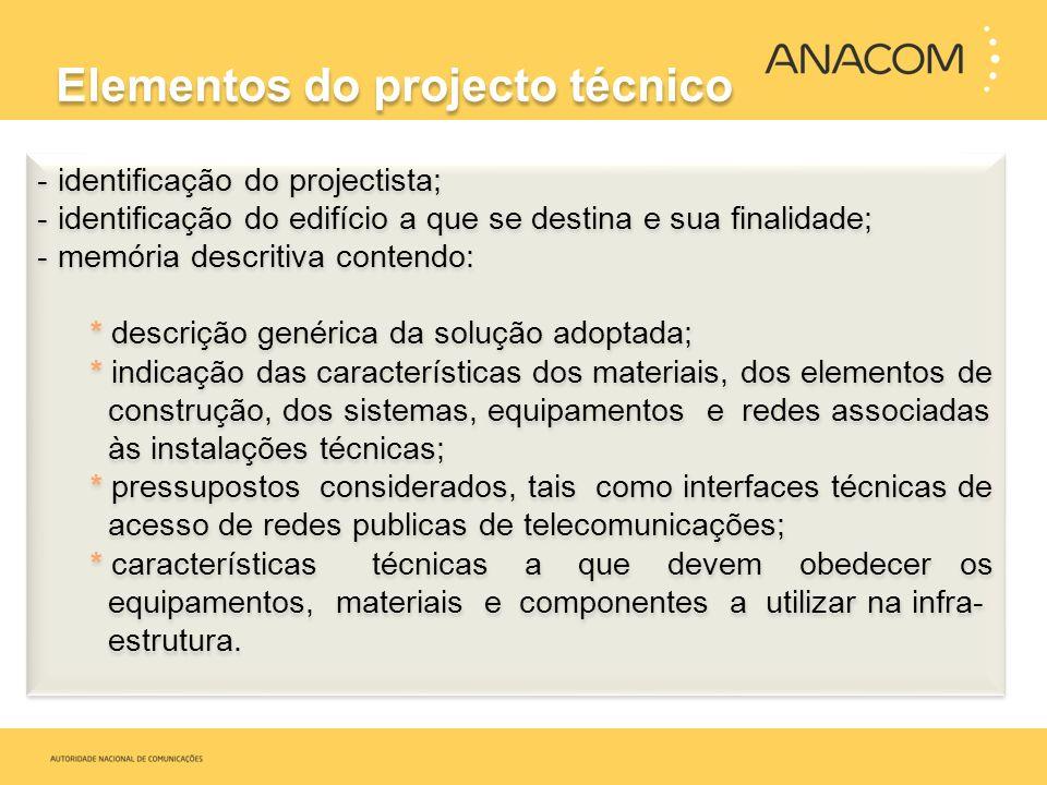 Elementos do projecto técnico