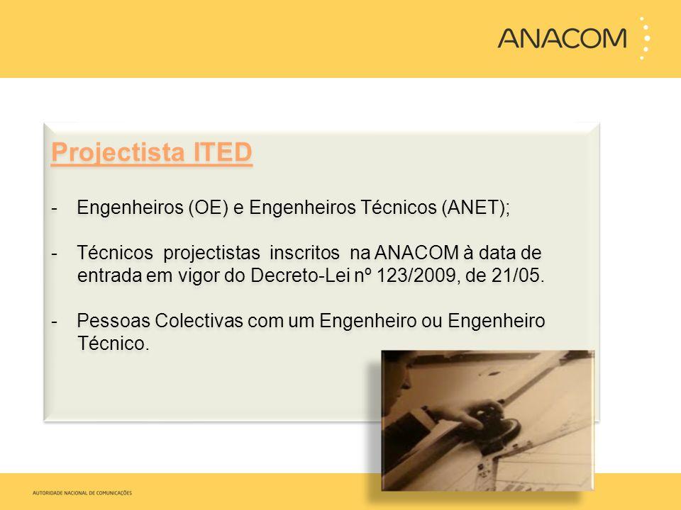 Projectista ITED Engenheiros (OE) e Engenheiros Técnicos (ANET);