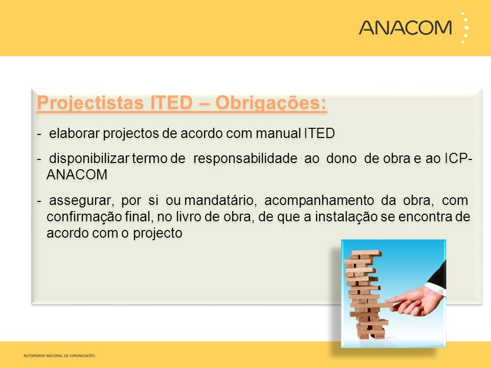 Projectistas ITED – Obrigações: