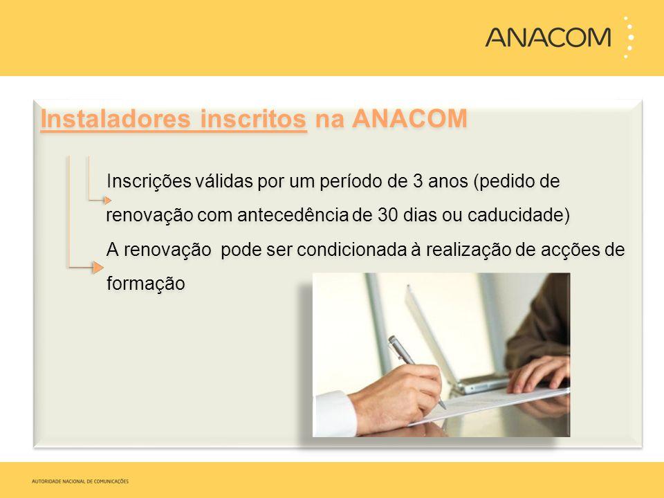Instaladores inscritos na ANACOM