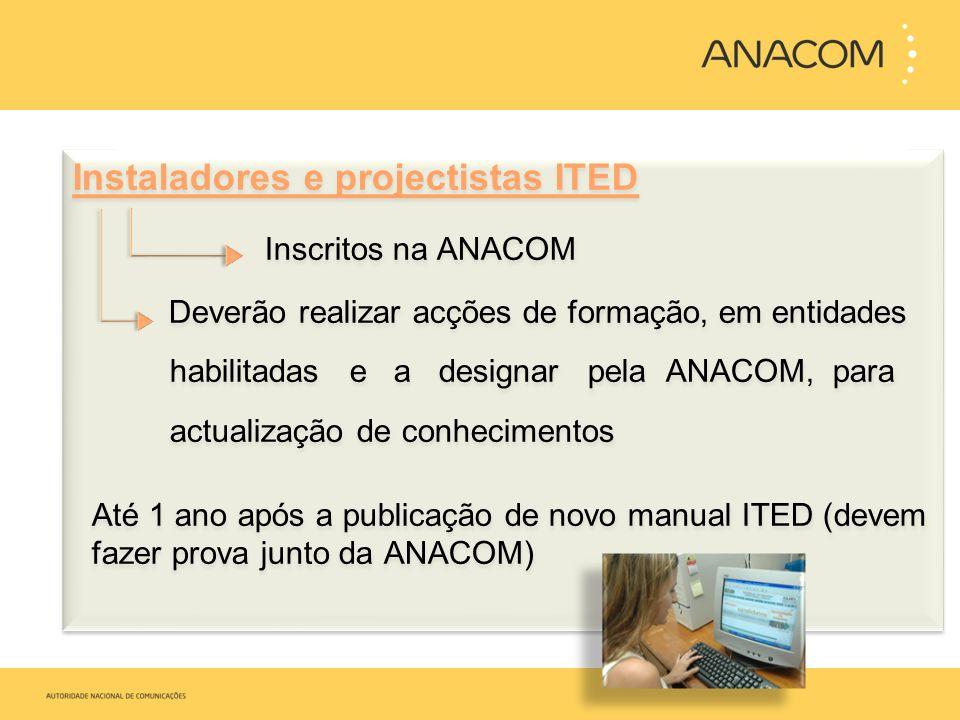 Instaladores e projectistas ITED Inscritos na ANACOM