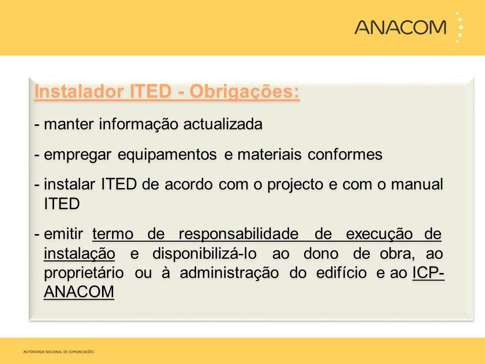 Instalador ITED - Obrigações: