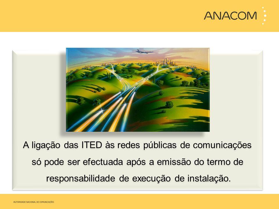 A ligação das ITED às redes públicas de comunicações só pode ser efectuada após a emissão do termo de responsabilidade de execução de instalação.