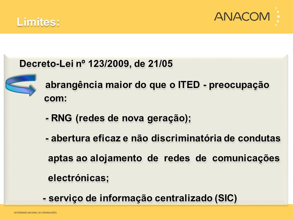 Limites: Decreto-Lei nº 123/2009, de 21/05