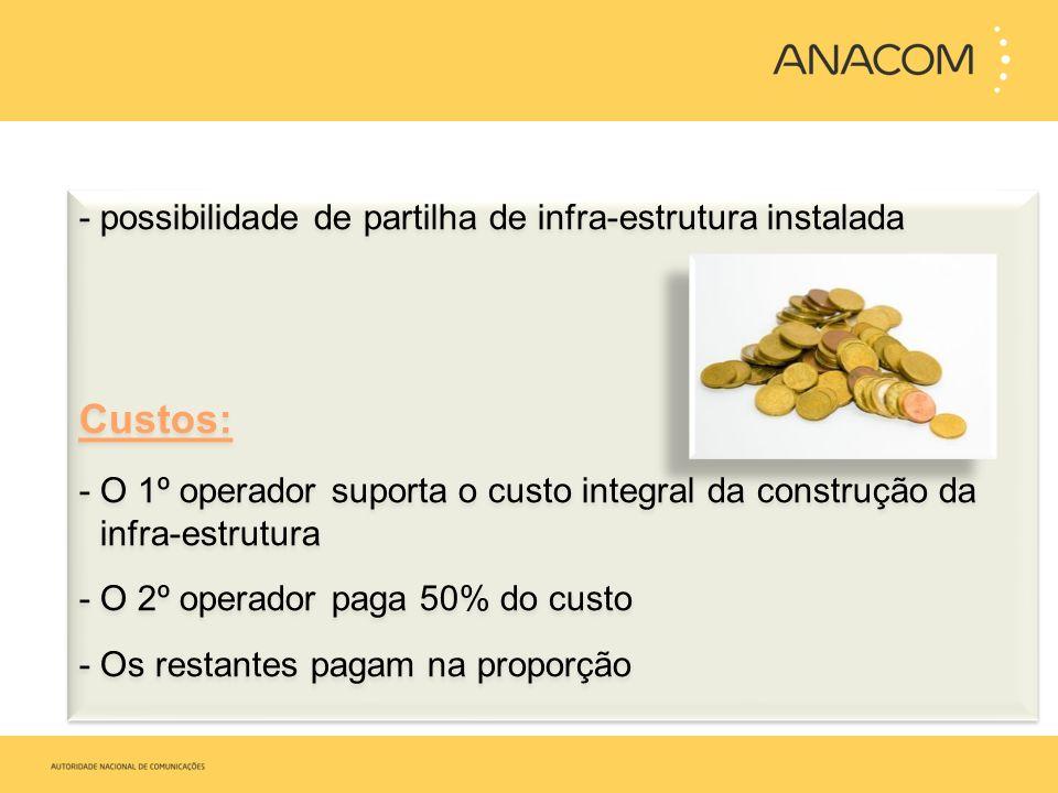 Custos: possibilidade de partilha de infra-estrutura instalada