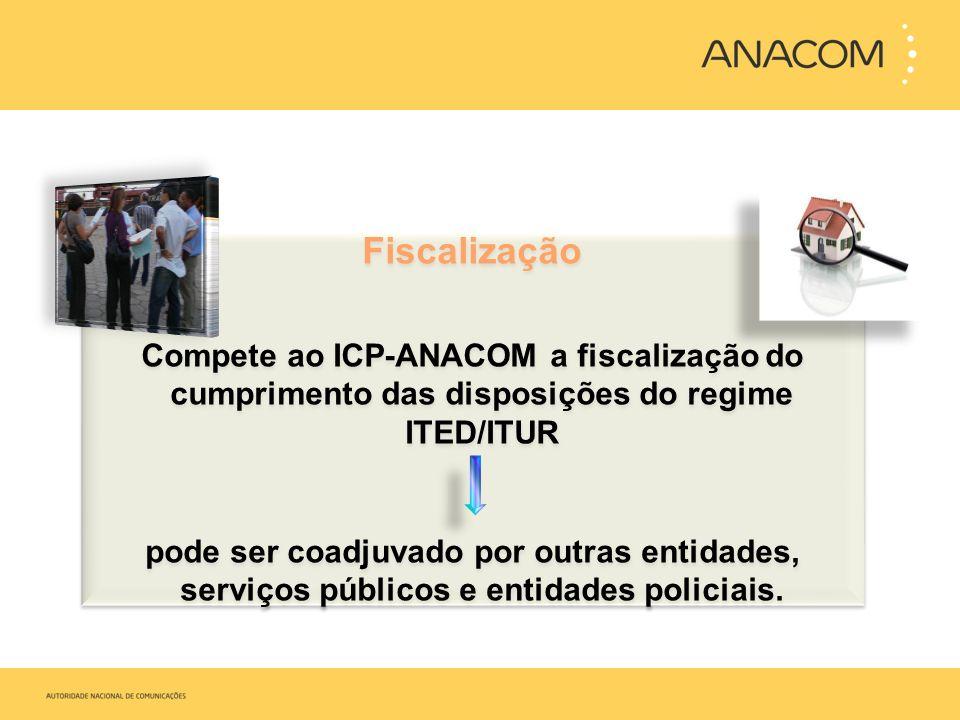 Fiscalização Compete ao ICP-ANACOM a fiscalização do cumprimento das disposições do regime ITED/ITUR.