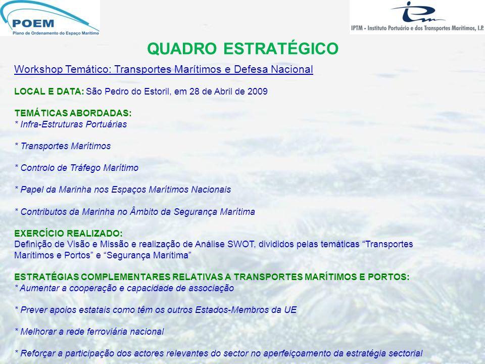 QUADRO ESTRATÉGICO Workshop Temático: Transportes Marítimos e Defesa Nacional. LOCAL E DATA: São Pedro do Estoril, em 28 de Abril de 2009.