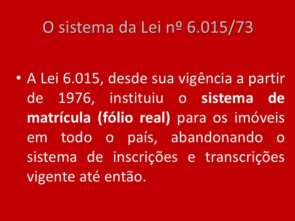 O sistema da Lei nº 6.015/73