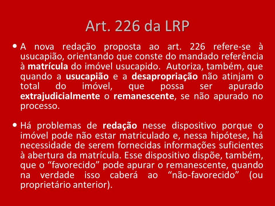 Art. 226 da LRP