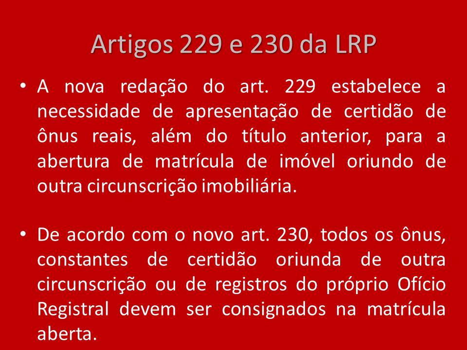 Artigos 229 e 230 da LRP