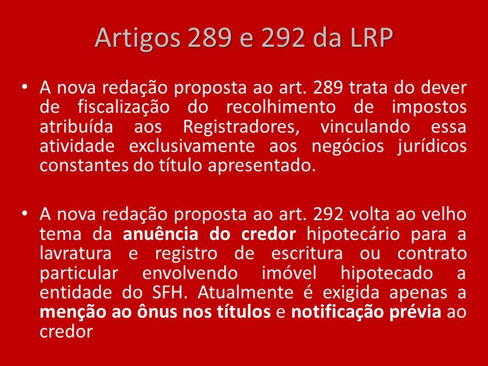 Artigos 289 e 292 da LRP