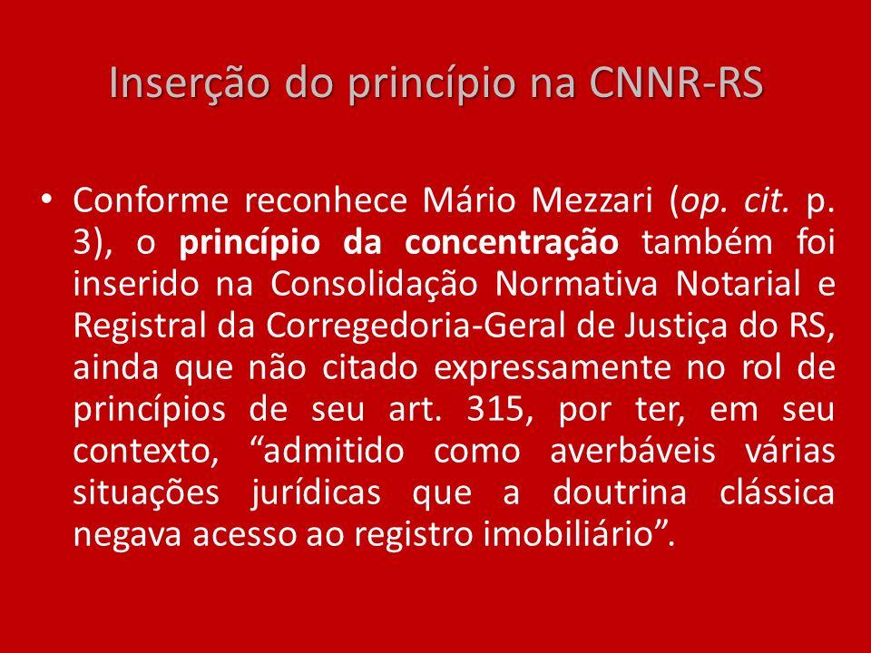 Inserção do princípio na CNNR-RS