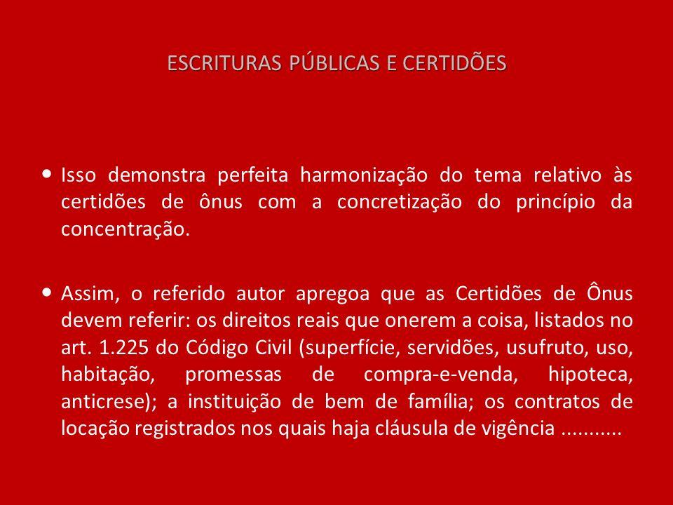 ESCRITURAS PÚBLICAS E CERTIDÕES