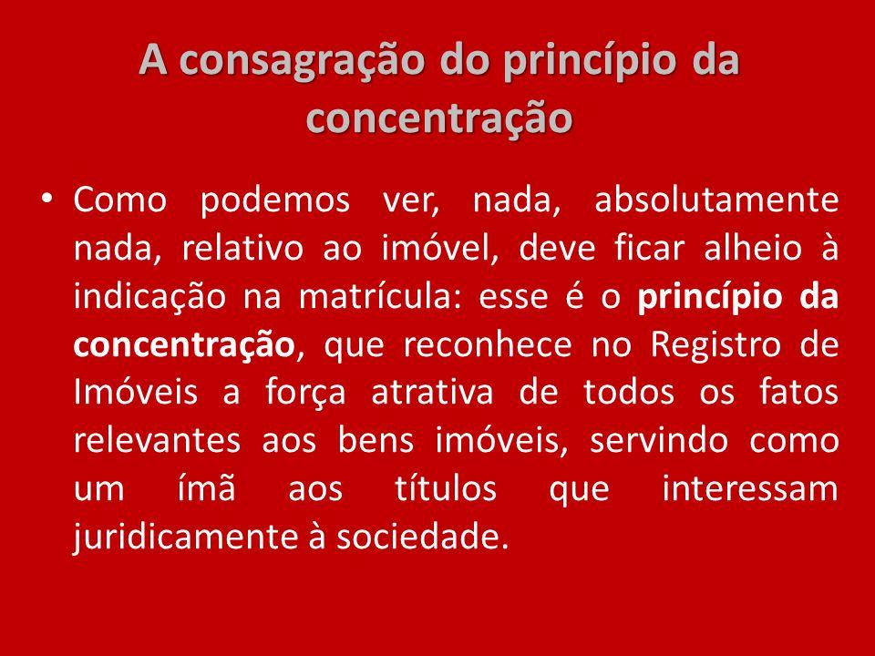 A consagração do princípio da concentração