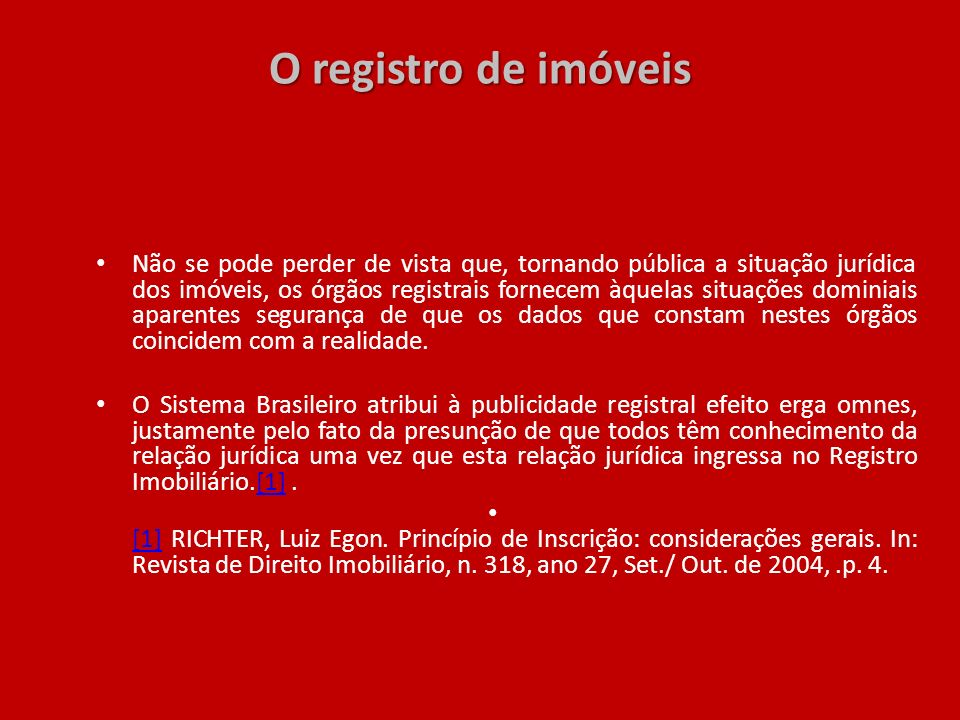 O registro de imóveis