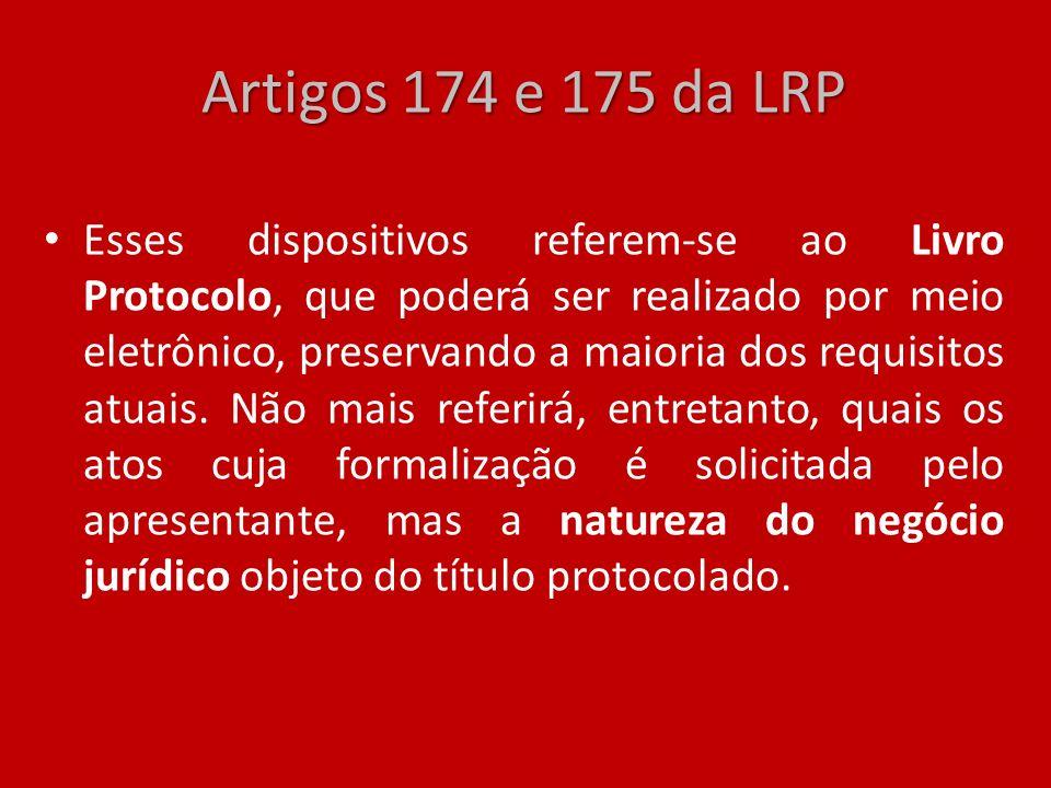 Artigos 174 e 175 da LRP