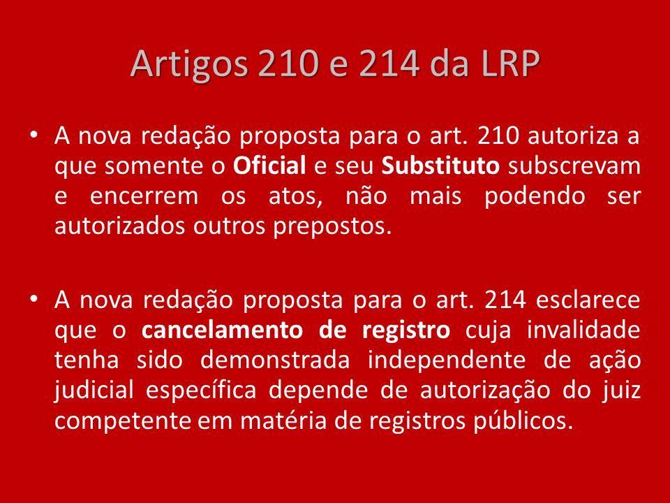 Artigos 210 e 214 da LRP