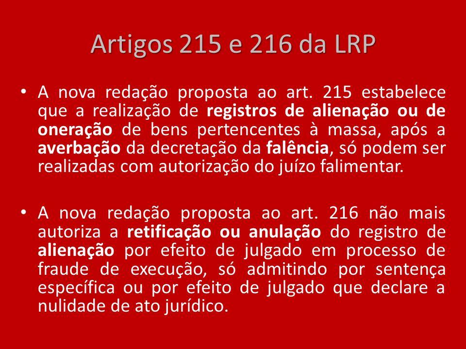 Artigos 215 e 216 da LRP