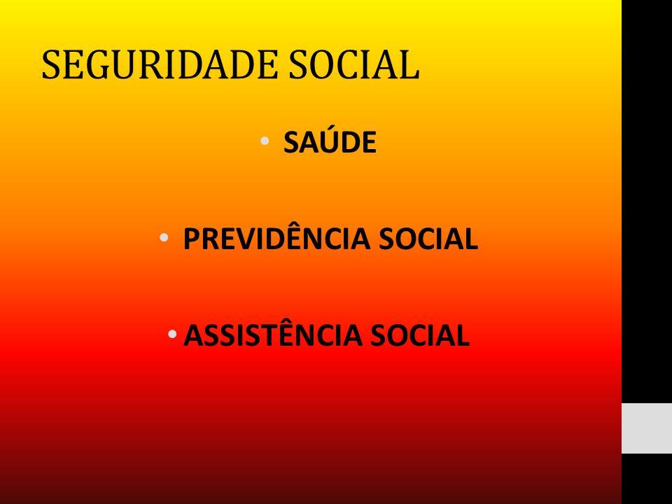 SEGURIDADE SOCIAL SAÚDE PREVIDÊNCIA SOCIAL ASSISTÊNCIA SOCIAL