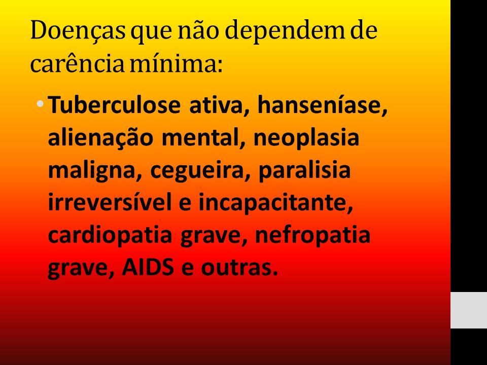 Doenças que não dependem de carência mínima:
