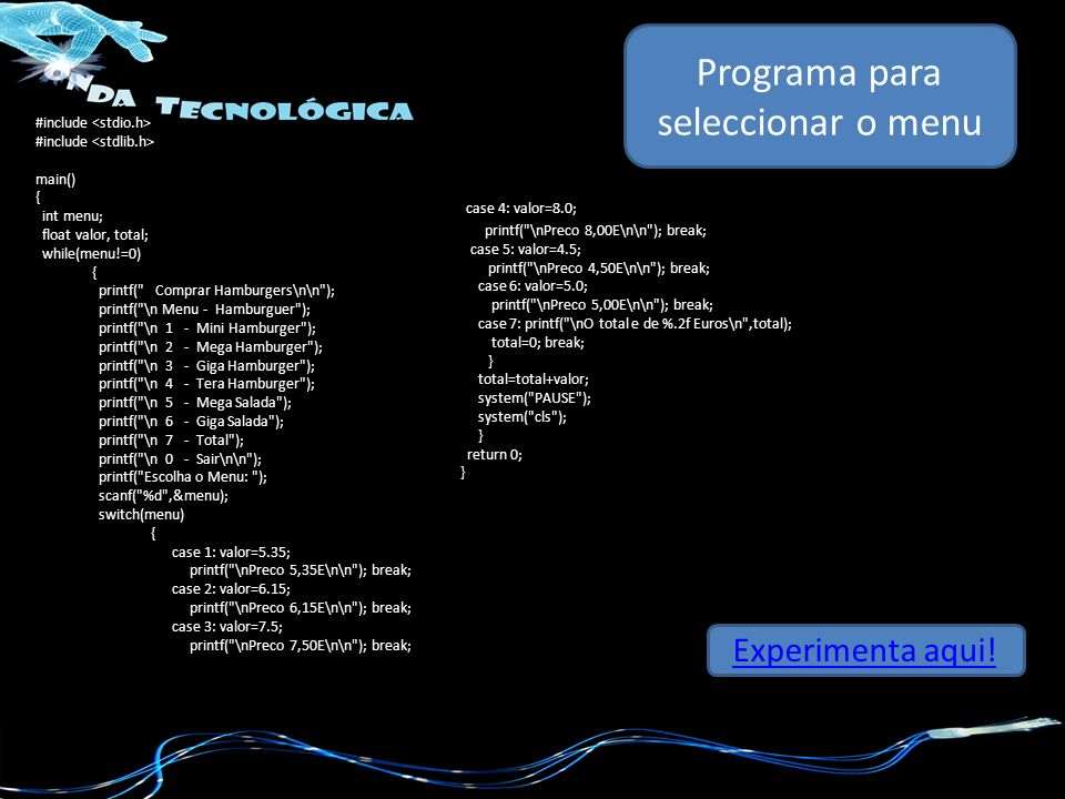 Programa para seleccionar o menu
