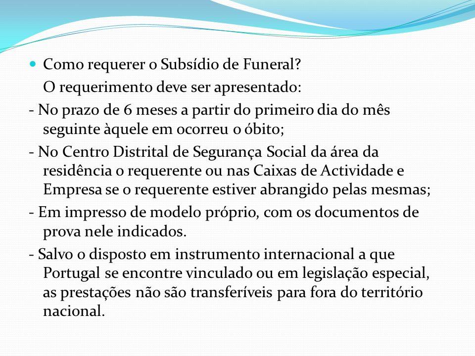 Como requerer o Subsídio de Funeral