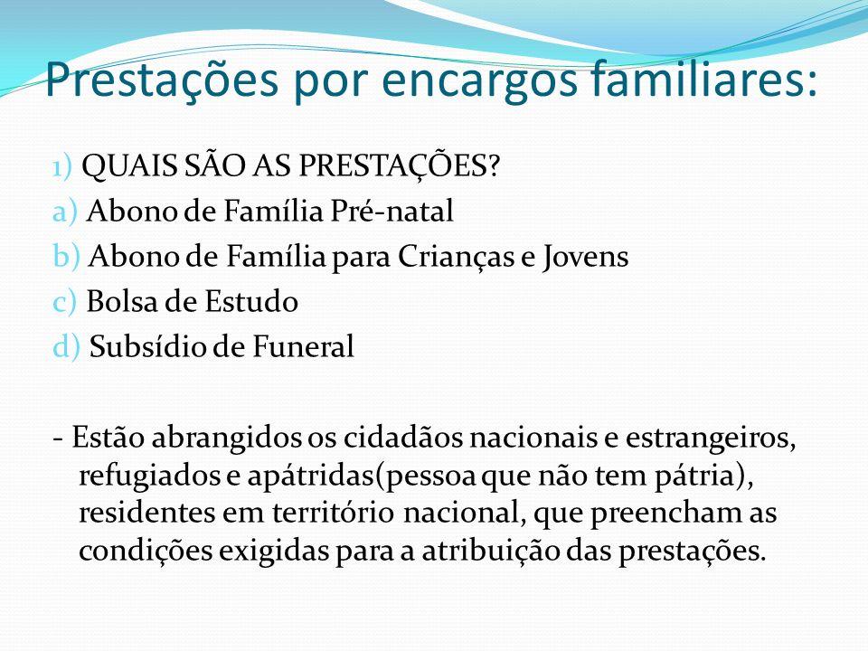Prestações por encargos familiares: