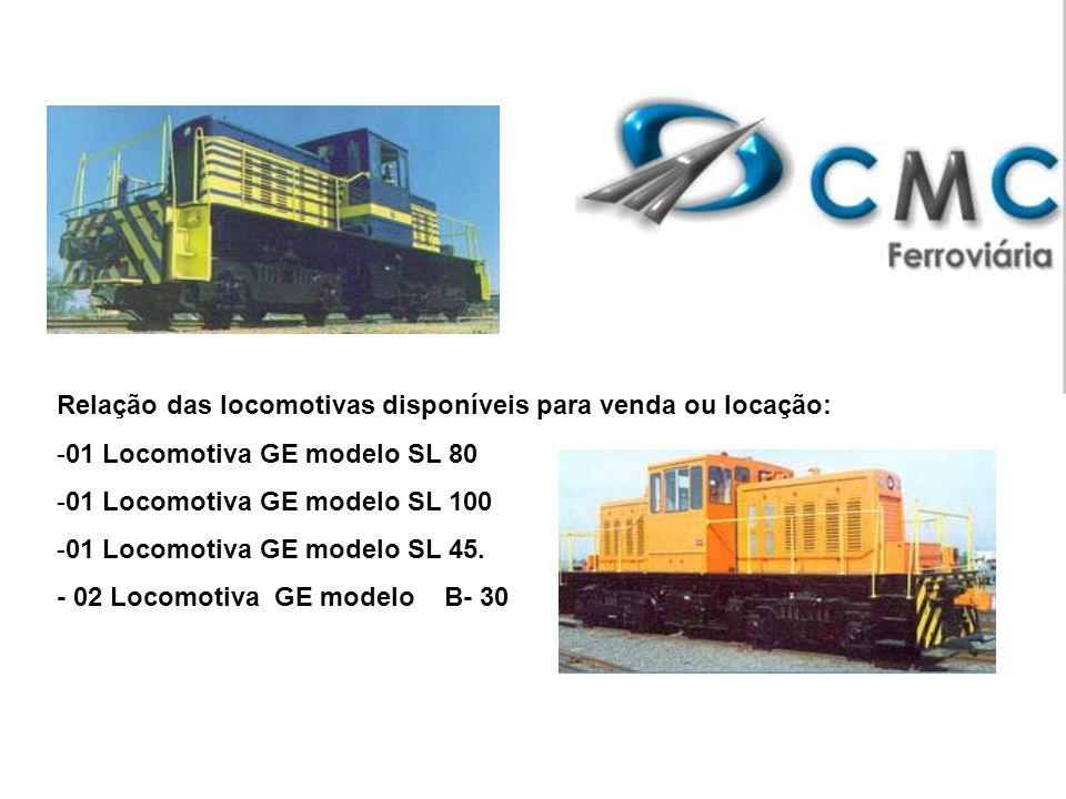 Relação das locomotivas disponíveis para venda ou locação: