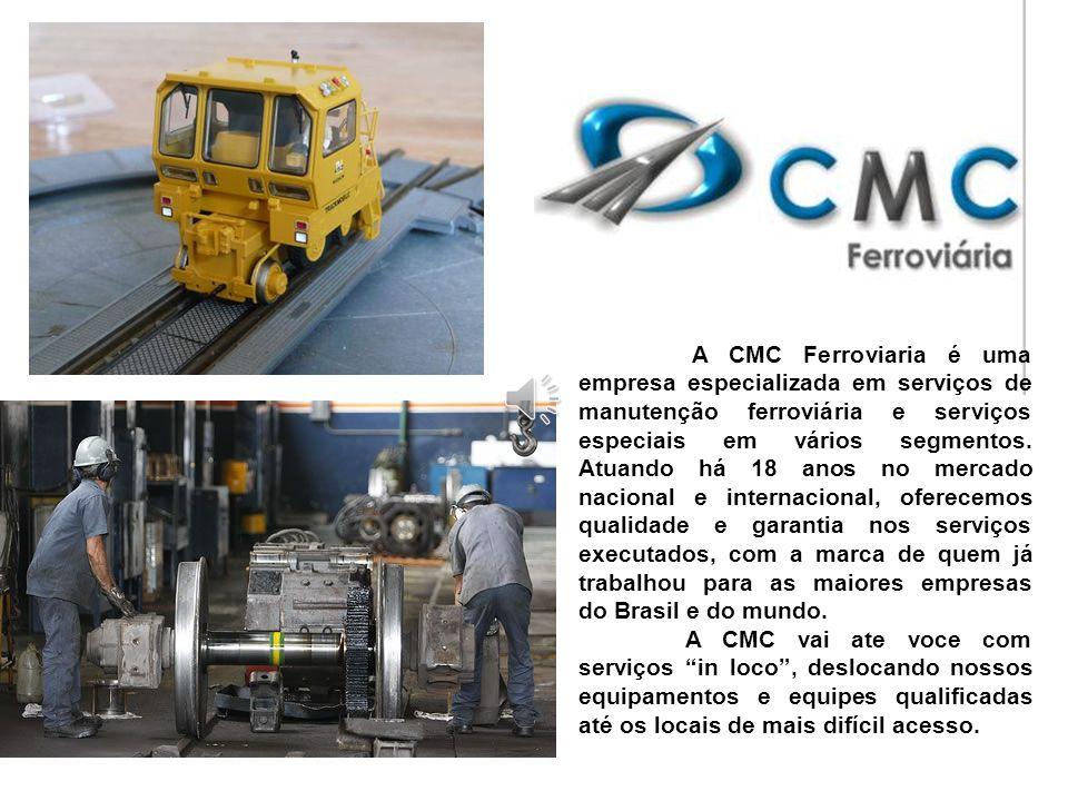 A CMC Ferroviaria é uma empresa especializada em serviços de manutenção ferroviária e serviços especiais em vários segmentos. Atuando há 18 anos no mercado nacional e internacional, oferecemos qualidade e garantia nos serviços executados, com a marca de quem já trabalhou para as maiores empresas do Brasil e do mundo.