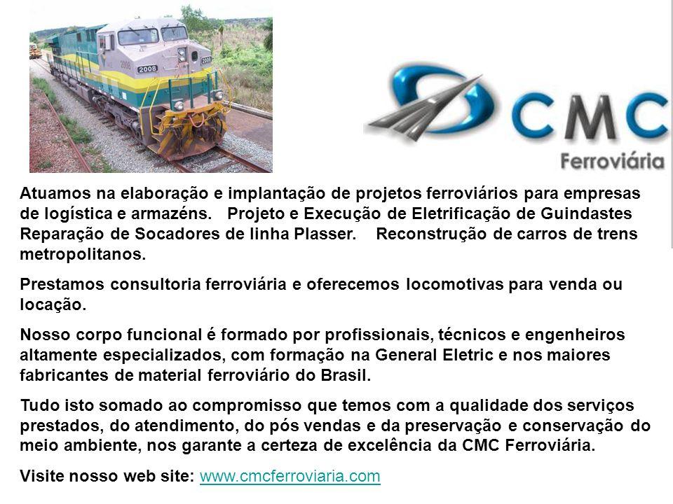 Atuamos na elaboração e implantação de projetos ferroviários para empresas de logística e armazéns. Projeto e Execução de Eletrificação de Guindastes Reparação de Socadores de linha Plasser. Reconstrução de carros de trens metropolitanos.