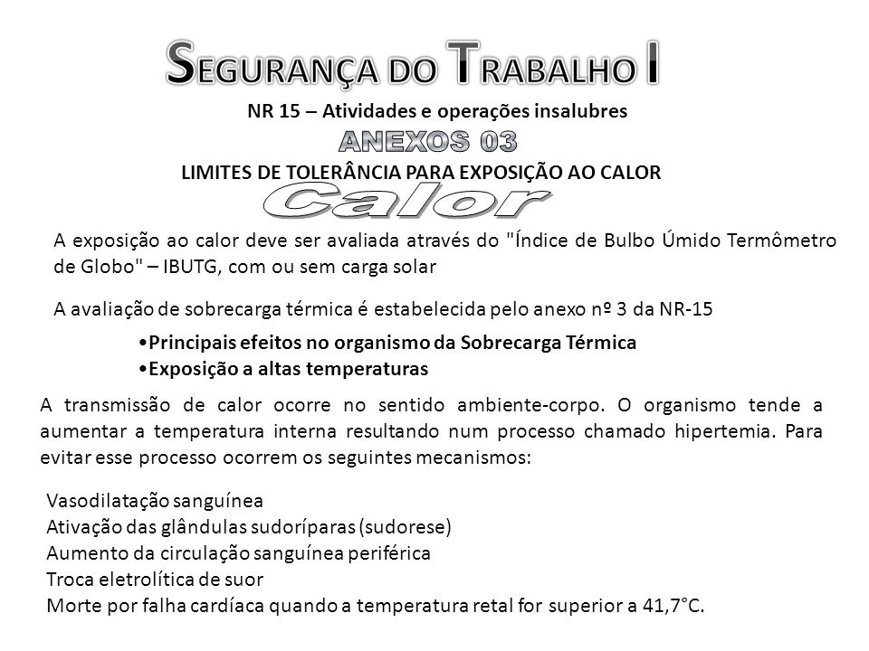 SEGURANÇA DO TRABALHO I