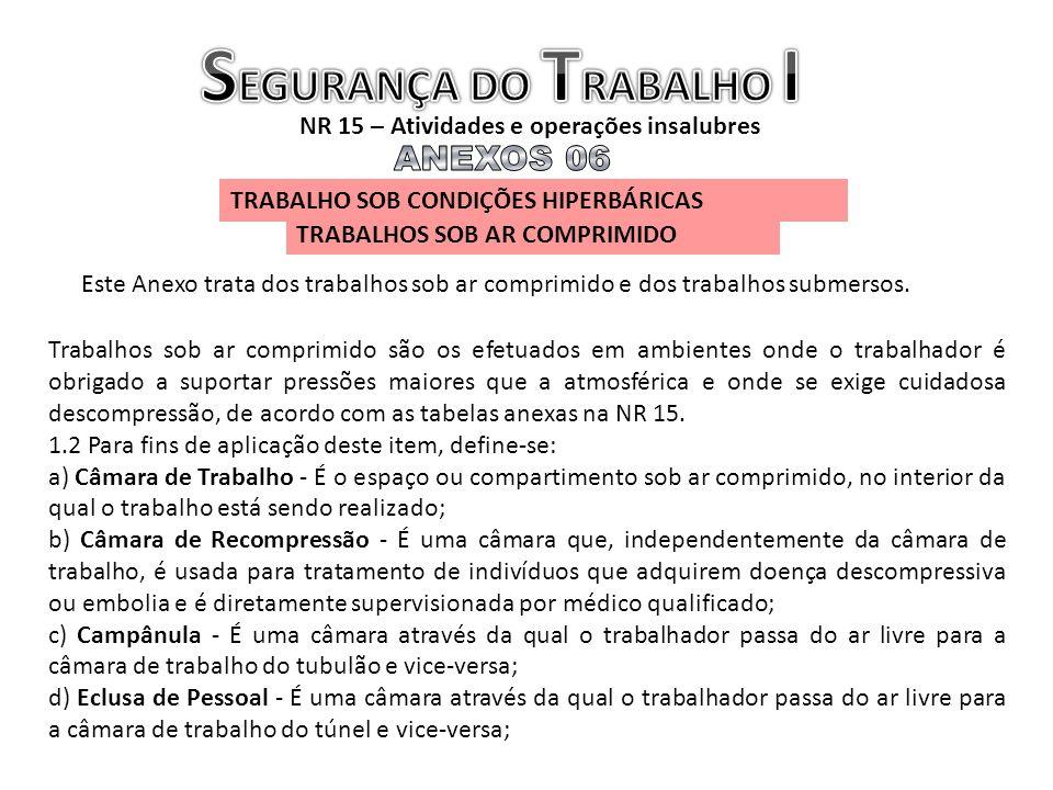 SEGURANÇA DO TRABALHO I NR 15 – Atividades e operações insalubres