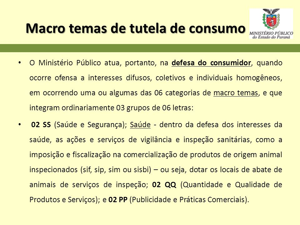 Macro temas de tutela de consumo