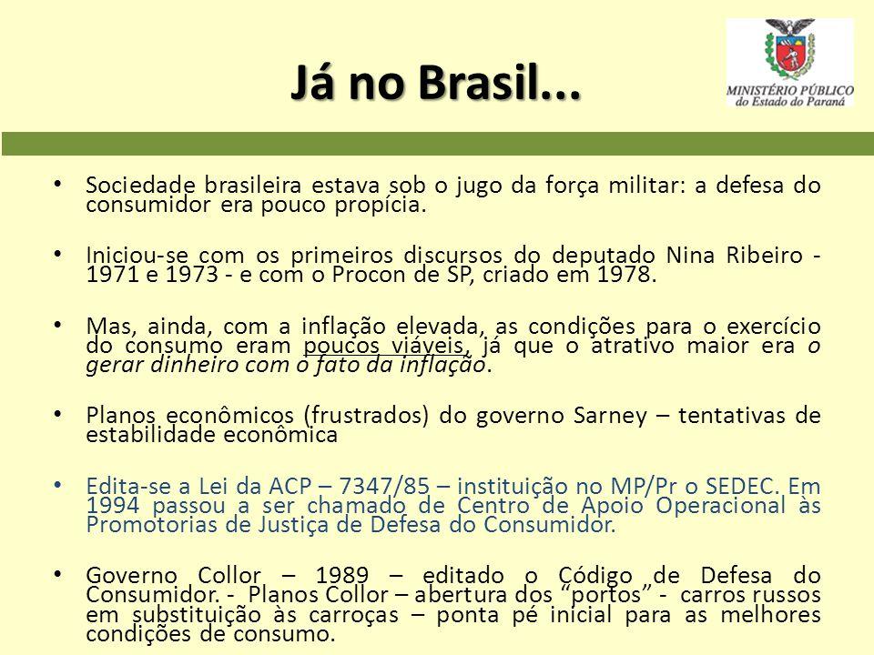 Já no Brasil... Sociedade brasileira estava sob o jugo da força militar: a defesa do consumidor era pouco propícia.