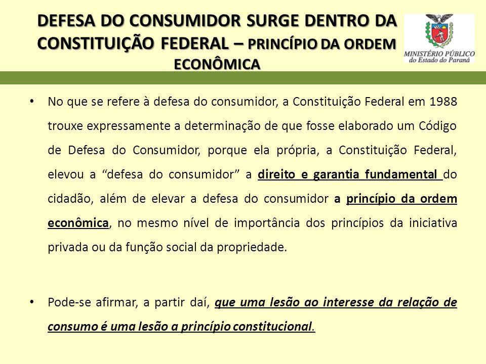 DEFESA DO CONSUMIDOR SURGE DENTRO DA CONSTITUIÇÃO FEDERAL – PRINCÍPIO DA ORDEM ECONÔMICA