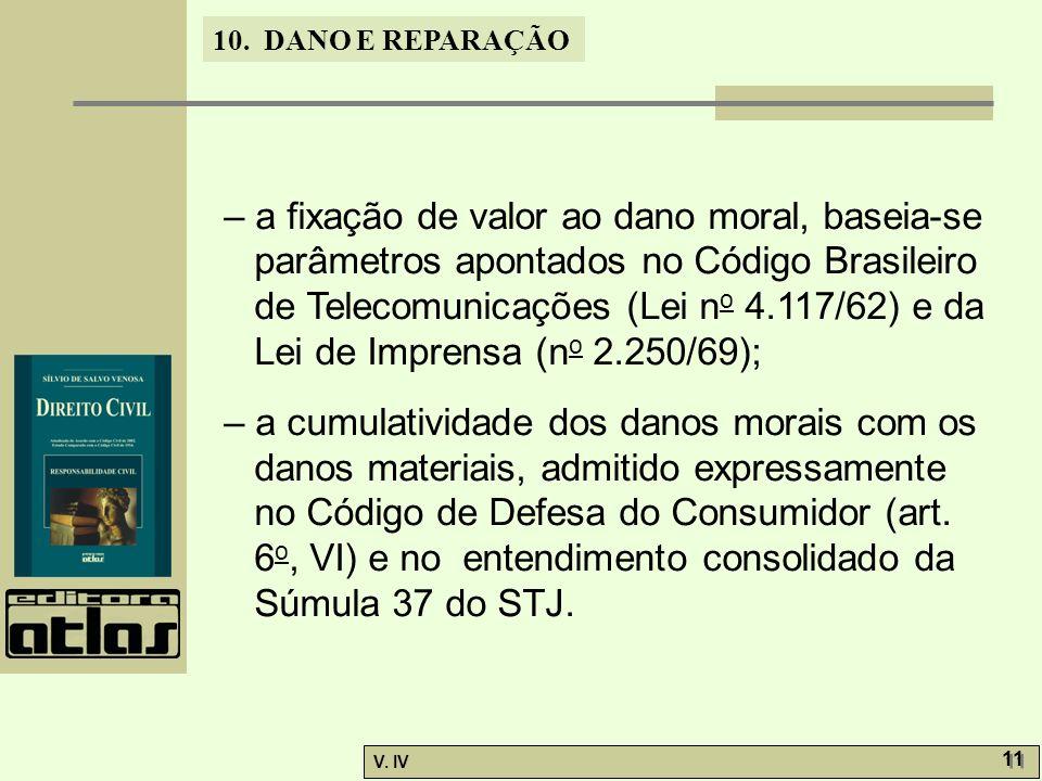 – a fixação de valor ao dano moral, baseia-se parâmetros apontados no Código Brasileiro de Telecomunicações (Lei no 4.117/62) e da Lei de Imprensa (no 2.250/69);