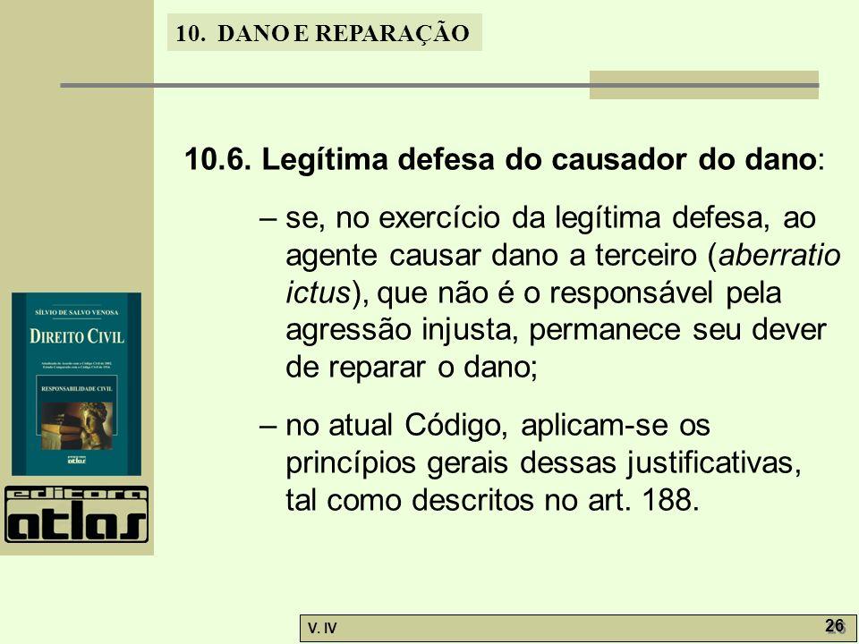 10.6. Legítima defesa do causador do dano: