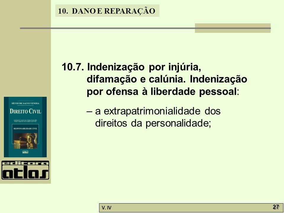 10. 7. Indenização por injúria, difamação e calúnia