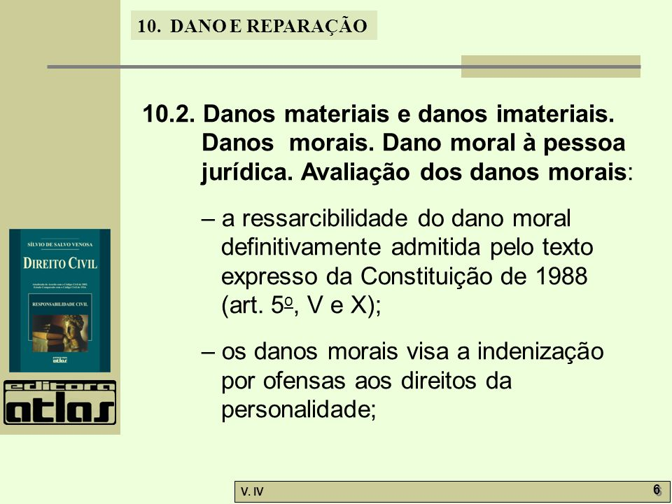 10. 2. Danos materiais e danos imateriais. Danos morais