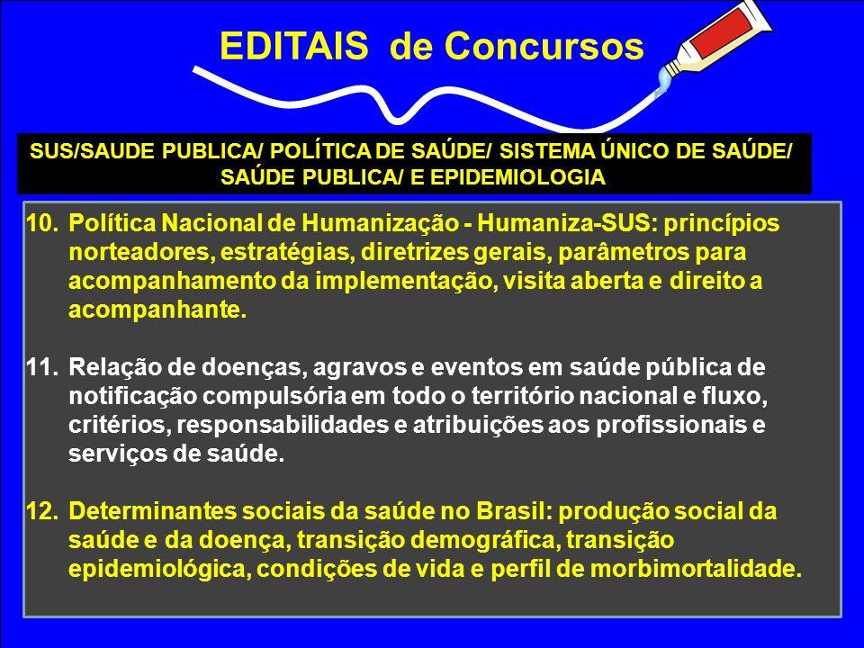 EDITAIS de Concursos SUS/SAUDE PUBLICA/ POLÍTICA DE SAÚDE/ SISTEMA ÚNICO DE SAÚDE/ SAÚDE PUBLICA/ E EPIDEMIOLOGIA.