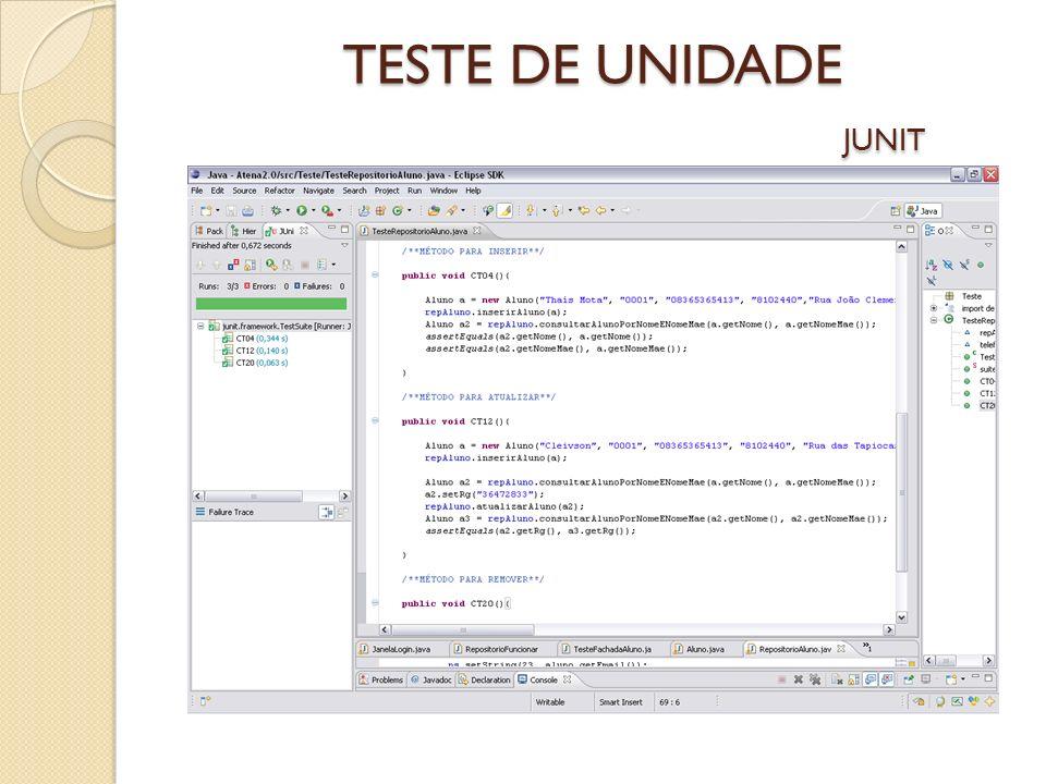 TESTE DE UNIDADE JUNIT