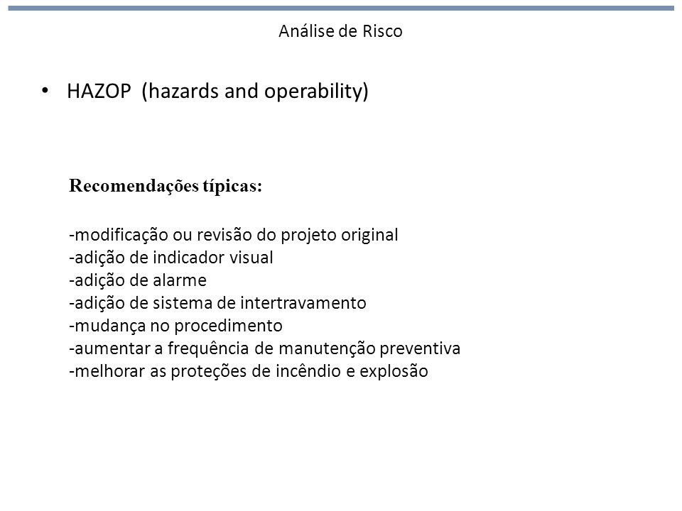 HAZOP (hazards and operability)