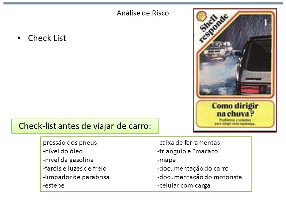 Check-list antes de viajar de carro: