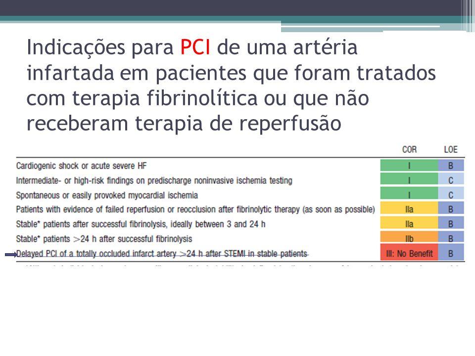 Indicações para PCI de uma artéria infartada em pacientes que foram tratados com terapia fibrinolítica ou que não receberam terapia de reperfusão