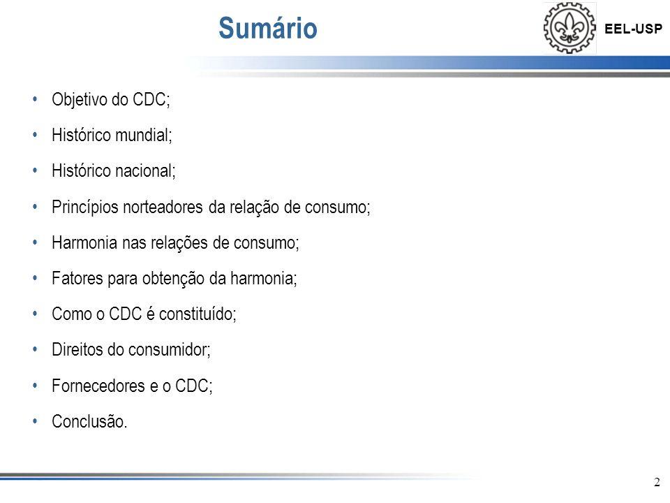 Sumário Objetivo do CDC; Histórico mundial; Histórico nacional;
