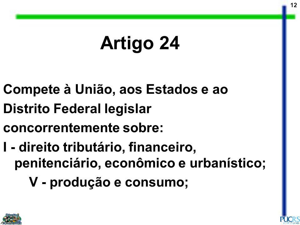 Artigo 24 Compete à União, aos Estados e ao Distrito Federal legislar